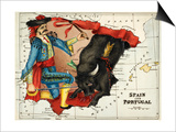 Map Of Spain and Portugal Represented As a Matador and Bull Prints by Lilian Lancaster