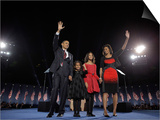 President-Elect Barack Obama and His Family Wave at the Election Night Rally in Chicago Posters