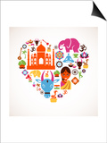 Heart With India Icons Prints by  Marish