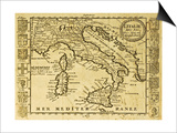 Map Of Italy Framed By Territorial Crests. May Be Dated To The Beginning Of Xviii Sec Posters by  marzolino