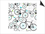 Seamless Fixed Gear Bicycle Illustration Pattern Kunst van Maaike Boot