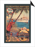Messageries Maritimes French Cruise Line Ports Poster