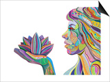 Woman Face With Multicolored Indian Pattern Holding Lotus Flower, Side View, Digital Painting Kunst af shooarts