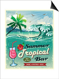 Illustration Of Vintage Seaside Tropical Bar Sign Poster by  Catherinecml