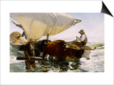 Retour de pêche, halage de la barque Prints by Joaquin Sorolla y Bastida