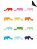 Rainbow Rhinos Posters by  Avalisa