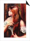 Combing Girl Prints by Pierre-Auguste Renoir