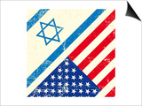 Israel And American Grunge Flag Prints by  TINTIN75