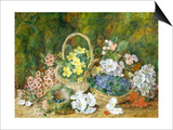 Spring Flowers and a Bird's Nest on a Mossy Bank Posters by George Clare