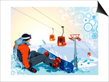 A Snowboarder Sitting On Snow Grief Poster by Aleksey Vl B.