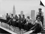 Construction Workers Take a Lunch Break on a Steel Beam Atop the RCA Building at Rockefeller Center Posters