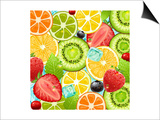 Summer Holidays Set With Cocktail Fruits And Berries Print by Ozerina Anna