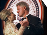 President Clinton Dances with His Wife Hillary at the Veterans Ball Monday Posters