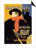 Ambassadeurs: Aristide Bruant dans Son Cabaret Láminas por Henri de Toulouse-Lautrec