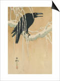 Blackbird in Snow Posters by Koson Ikeda