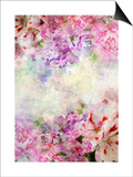 Abstract Ink Painting Combined With Flowers On Grunge Paper Texture Posters by  run4it