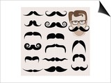 Hipster And Retro Mustaches Poster by  mushakesa