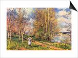 Les Petits Pres Au Printemps Prints by Alfred Sisley