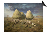 Haystacks; Autumn 1874 Posters by Jean-François Millet