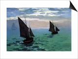 Le Havre - Exit The Fishing Boats From The Port Art by Claude Monet