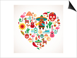 Mexico Love - Heart With Set Ofs Posters by  Marish