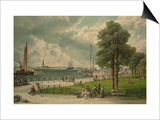Castle Garden at the Tip of Manhattan with the Stature of Liberty in the Distance Prints