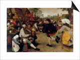 Dance of the Peasants - Detail Print by Pieter Breughel the Elder