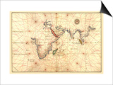 Portolan Map of Africa, the Indian Ocean and the Indian Subcontinent Prints by Battista Agnese