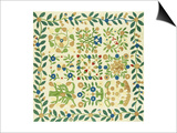 A Pieced and Appliqued Cotton Album Crib Quilt, American, circa 19th Century Print