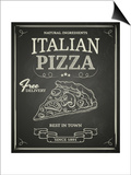 Italian Pizza Poster on Black Chalkboard Posters af hoverfly