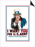 I Want You for the U.S. Army Art by James Montgomery Flagg