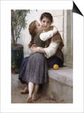 A Little Coaxing Print by William Adolphe Bouguereau