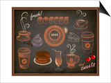 Coffee And Sweets Ads - Blackboard With A Set Of Coffee And Sweets Advertisements Kunstdrucke von  LanaN.