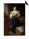 Premiers Caresses Prints by William Adolphe Bouguereau