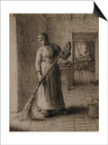 Woman Sweeping Her Home Poster by Jean-François Millet