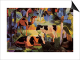 Landscape with Cows and Camels Stampe di Auguste Macke
