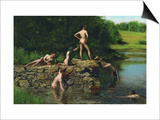 Swimming Poster by Thomas Cowperthwait Eakins