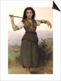 The Shepherdess Prints by William Adolphe Bouguereau