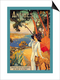 Antibes, Lady in White with Parasol and Dog Poster by David Dellepiane