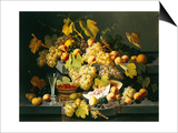 Still Life with Fruit and a Glass of Champagne Kunstdrucke von Severin Roesen