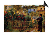 Monet Painting In His Garden In Argenteuil Prints by Claude Monet