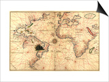 Portolan World Map Poster by Joan Oliva