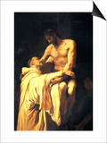 Christ Embracing St. Bernard Art by Francisco Ribalta
