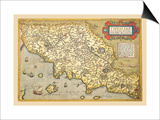 Map of Italian Coast above Rome Poster by Abraham Ortelius