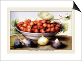 Dish of Cherries with Figs and Medlars Posters by Giovanna Garzoni