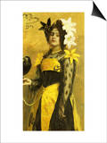 Portrait of a Lady in a Yellow and Black Gown Adorned with Lilies Holding a Black Bird, 1901 Posters by Ilya Efimovich Repin