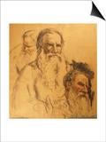 Three Studies of Leo Tolstoy (1828-1910) Posters by Ilya Efimovich Repin