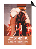 Lloyd Triestino Espresso Itali India Prints by Marcello Dudovich