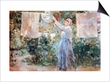 Women Hang Out Laundry to Dry Poster by Berthe Morisot