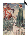 King Arthur Asks The Lady Of The Lake For The Sword Excalibur Prints by Walter Crane